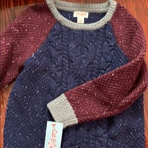 5T NWT long sleeve blue and maroon sweater